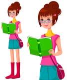 有书的女孩 向量例证