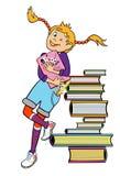 有书的女小学生 免版税图库摄影