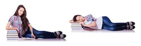 有书的学生在白色 免版税库存照片