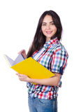 有书的学生女孩在白色 免版税图库摄影