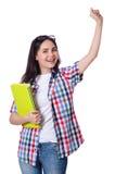 有书的学生女孩在白色 免版税库存图片