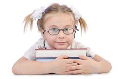 有书的小女孩 库存图片
