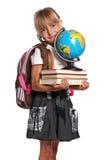 有书的小女孩 免版税库存照片