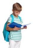 有书的小男孩 免版税库存照片