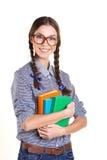 有书的快乐的女孩 免版税库存图片