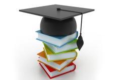 有书的毕业盖帽 免版税库存照片