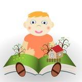 有书的男孩 库存图片
