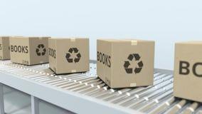 有书的纸盒在辊筒运输机 Loopable 3D?? 皇族释放例证