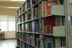 有书的老书架在各种各样的大图书馆里整洁地安排了 免版税库存照片
