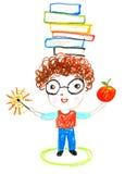 有书的聪明的男孩在他的头,上油蜡笔画illustrati 库存例证