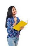有书的年轻女学生在白色 免版税库存照片