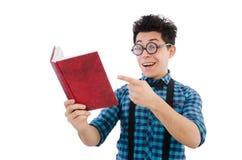 有书的滑稽的学生 免版税库存照片