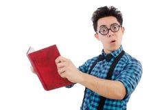 有书的滑稽的学生 免版税库存图片