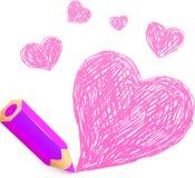 有乱画心脏的桃红色动画片铅笔 免版税库存图片