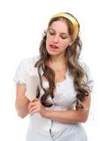 有乳汁手套的诱人的女性医生 免版税图库摄影