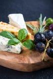 有乳酪选择的土气委员会,塔帕纤维布称呼开胃菜 图库摄影