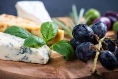有乳酪选择的土气委员会,塔帕纤维布称呼开胃菜 免版税图库摄影