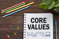 有事务的笔记本注意在办公室桌上的核心价值与工具 概念与infographics的元素的核心价值 库存图片