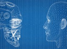 有二进制编码的抽象人和机器人头 库存照片