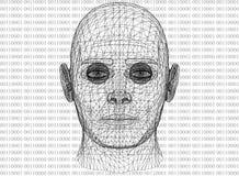 有二进制编码的抽象人头 免版税库存图片