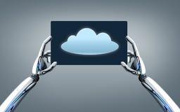 有云彩图象的机器人手在片剂个人计算机屏幕上 库存图片