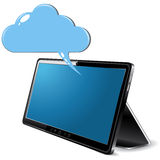 有云彩的黑抽象片剂个人计算机 图库摄影