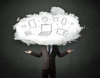 有云彩网络头的专业商人 免版税库存图片