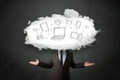 有云彩网络头的专业商人 库存照片
