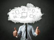 有云彩网络头的专业商人 库存图片