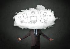 有云彩网络头的专业商人 免版税图库摄影