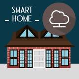 有云彩计算的服务的聪明的房子 库存图片