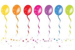 有五彩纸屑传染媒介的五颜六色的气球 图库摄影