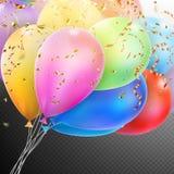 有五彩纸屑的五颜六色的气球 10 eps 库存照片