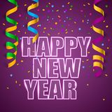 有五彩纸屑的新年快乐 免版税图库摄影