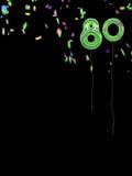 有五彩纸屑的箔样式第80个生日气球 免版税库存图片