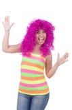 有五颜六色的假发的妇女 免版税库存照片