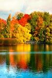有五颜六色的叶子、树和湖的美丽的秋天公园 免版税库存照片