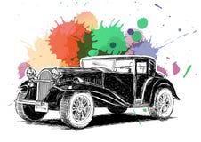 有五颜六色的墨水飞溅声传染媒介的葡萄酒减速火箭的经典老汽车我 库存图片