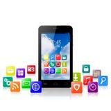 有五颜六色的应用象云彩的触摸屏幕智能手机  免版税图库摄影