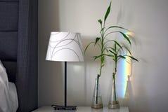 有五颜六色的彩虹折射的竹滑道在卧室墙壁上 免版税库存照片