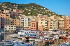 有五颜六色的房子和小港口的卡莫利典型的村庄在意大利 库存图片