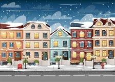 有五颜六色的房子消防龙头的积雪的街道点燃长凳红色邮箱,并且在花瓶动画片样式的灌木导航illustrati 库存图片