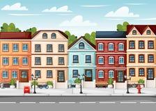 有五颜六色的房子消防龙头的街道点燃长凳红色邮箱,并且在花瓶动画片样式的灌木导航例证网站pa 免版税库存图片
