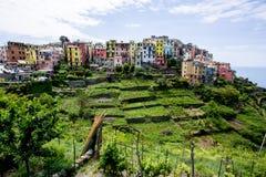 有五颜六色的房子的五乡地村庄与露台的草地的小山的 免版税图库摄影