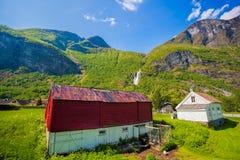 有五颜六色的房子的Flam村庄在挪威 库存图片