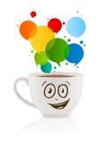 有五颜六色的抽象讲话泡影的咖啡杯子 库存图片