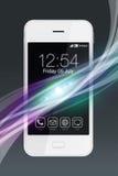 有五颜六色的波浪作用的白色智能手机 免版税库存照片