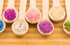 有五颜六色的海盐的木匙子 库存图片