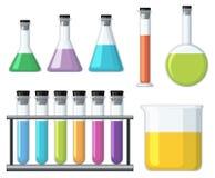 有五颜六色的液体的烧杯 库存例证