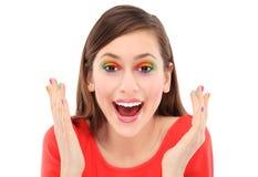有五颜六色的眼影膏的惊奇的妇女 免版税库存图片